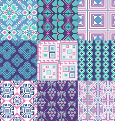 9 retro seamless ornaments vector image
