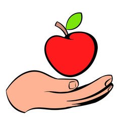 a hand giving red apple icon icon cartoon vector image