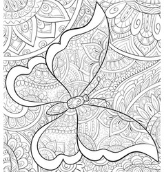 Adult coloring bookpage a cute butterfly on the vector