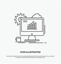 analytics chart seo web setting icon line gray vector image