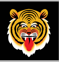angry tiger head isolated on black vector image