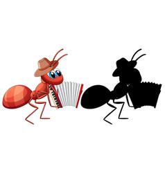 Ant with accordion cartoon vector