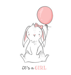 Baby shower card it s a girl pink bunny vector