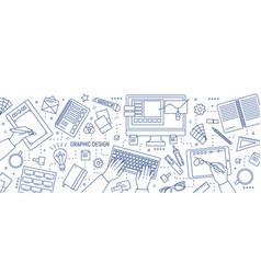 Banner with hands of designer working in digital vector