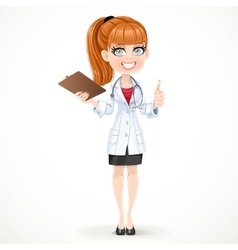 Beautiful girl doctor in a white medical coat vector image