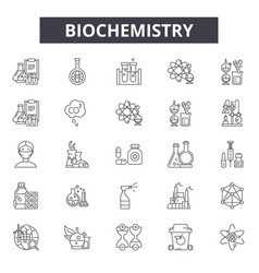 Biochemistry line icons for web and mobile vector