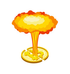 bitcoin explosion big cloud crypto currency vector image