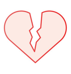Broken heart flat icon sad love pink icons in vector