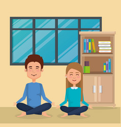 business couple practicing yoga vector image