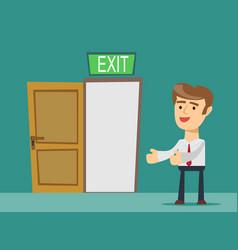 Businessman person and a open door vector