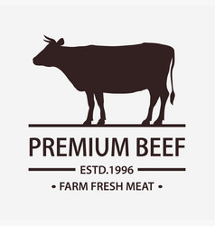 Butcher shop label badge with cow fresh beef vector