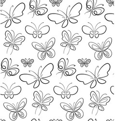 Butterfly set pattern black on white simbols vector