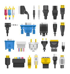 Cable ports jacks different digital outputs vector