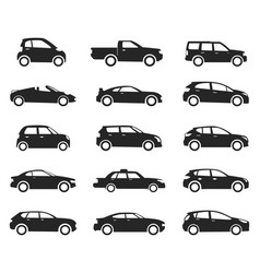 Car icon side view set black silhouette vector