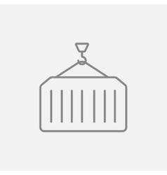 Cargo container line icon vector image