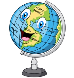 Cartoon happy globe vector image