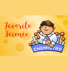 chemistry science concept banner cartoon style vector image