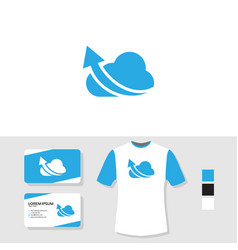 cloud logo design with business card and t shirt vector image