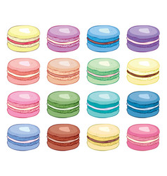 collection colorful french macarons vector image