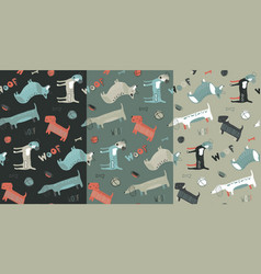 collection three seamless patterns vector image