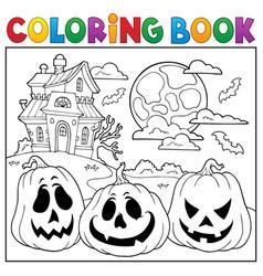 Coloring book with halloween pumpkins 2 vector