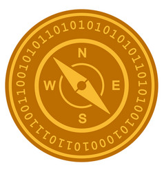 Compass digital coin vector