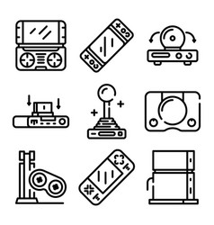 Console icons set outline style vector