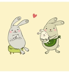 Cute bunnies Letter and baby vector