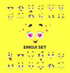 cute funny emoji set on yellow background vector image