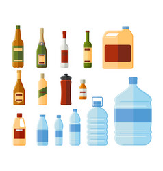 different bottles and water containers vector image vector image