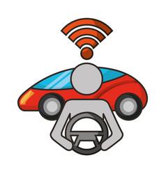 driver vehicle signal autonomous car vector image