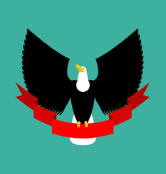 Eagle and red ribbon big black bird emblem vector