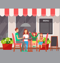 family sitting in cafe outdoor leisure vector image