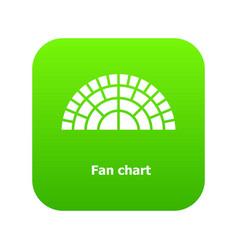 Fan chart icon green vector
