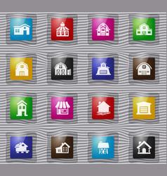 farm building glass icons set vector image