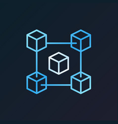 Fintech and blockchain blue icon in thin vector