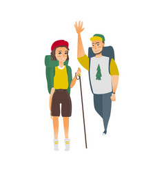 Flat man woman hiking tourist vector