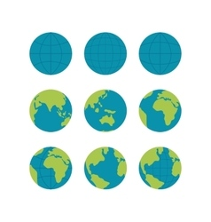 Flate globe icons set signs isolated on vector image