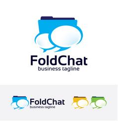 Folder chat logo design vector