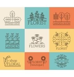 Gardening and floristry logos vector image