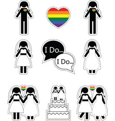 Gay woman wedding 1 with rainbow element vector
