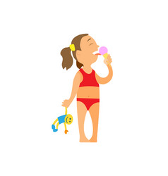Girl in swimming suit eating ice cream isolated vector