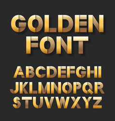 golden metallic font set vector image