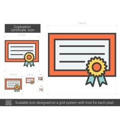 Graduation certificate line icon vector