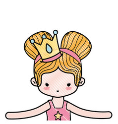 Grated girl dancing ballet with two buns hair and vector