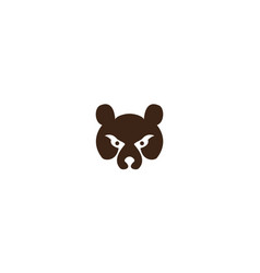 Grizzly bear head face silhouette logo design icon vector