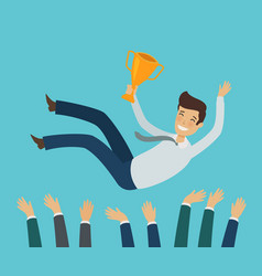 Group of business people or team tossing vector