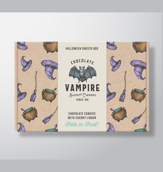 halloween sweets pattern realistic cardboard box vector image