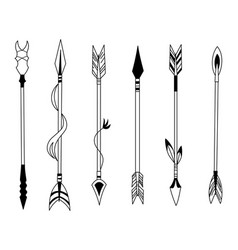 Hand drawn feather arrow tribal feathers vector