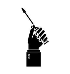 hand holding screwdriver tool repair pictogram vector image